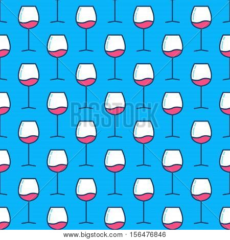 Wine glasses blue pattern. Vector creative colorful seamless texture made with glasses with red wine on blue background