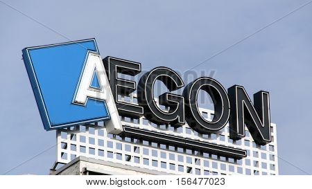 Letters Aegon On A Building In Amsterdam