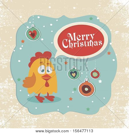 Vector illustration of rooster, symbol of 2017. Vector element for New Year's design. Christmas elements, cute cartoon rooster