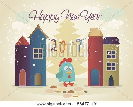 Vector illustration of rooster, symbol of 2017. Vector element for New Year's design. rooster came in winter town for holiday
