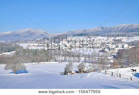View to Village of Drachselsried in bavarian Forest,Bavaria,Germany