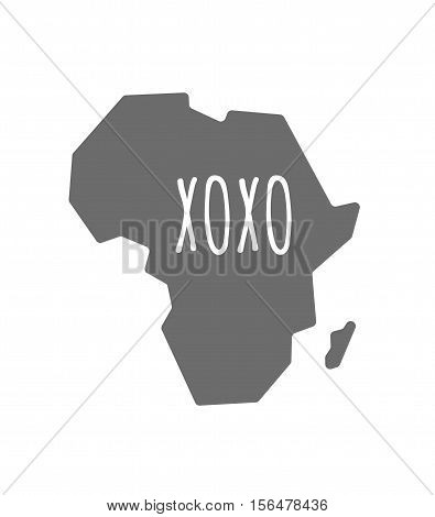 Isolated Africa Map With    The Text Xoxo