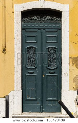 Beautiful old door in Lisbon near Castle of St George
