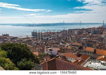 View of Lisbon from the Castle of St. George on a sunny day