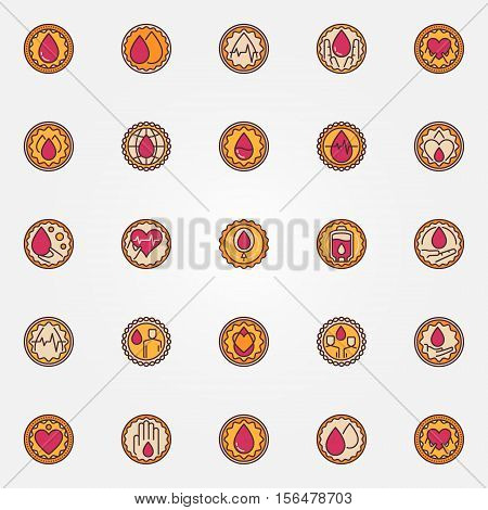 Blood donation colorful badges. Vector collection of round donate blood labels. Blood donor concept symbols or signs