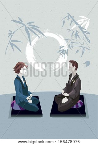 Man and woman sitting in the lotus position in a meditation hall practicing silent meditation. They belong to the tradition of Zen Buddhism. In the background an enso draw (calligraphy circle).
