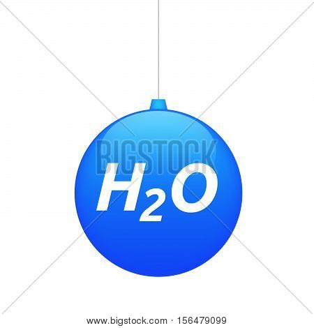 Isolated Christmas Ball With    The Text H2O