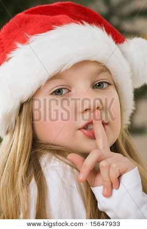 Pretty blond hair girl with santa hat. Christmas tree in background