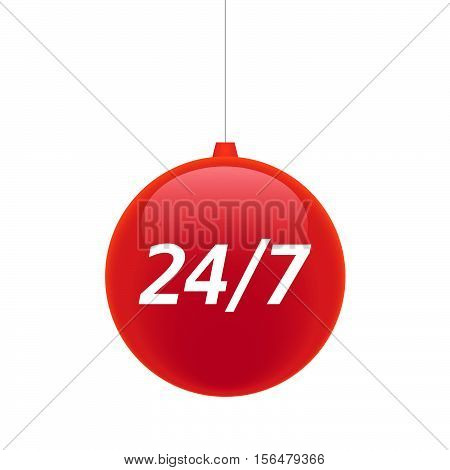 Isolated Christmas Ball With    The Text 24/7