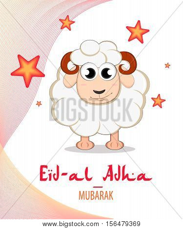 Festival of sacrifice Eid-Ul-Adha. Lettering translates as Eid Mubarak (blessed holiday of Muslims). Lettering translates as Eid Al-Adha (feast of sacrifice).