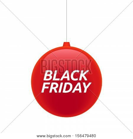 Isolated Christmas Ball With    The Text Black Friday