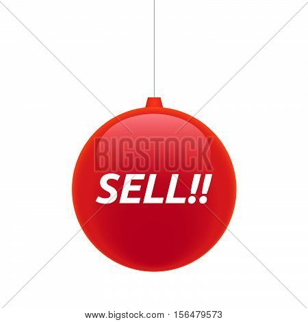 Isolated Christmas Ball With    The Text Sell!!
