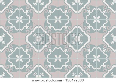 Traditional ornate portuguese and brazilian tiles azulejos. Faded dingy worn colors azulejo tiles. Worn look. Vintage pattern. Abstract background. Vector illustration, eps10.