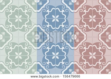 Traditional decorative ornate portuguese and brazilian tiles azulejos. Set of 3 color variations in blue, green and red. Spanish talavera tiles. Abstract background. Vector illustration, eps10.