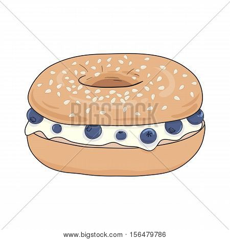 Fresh bagel sandwich with cream cheese and blueberries. Delicious breakfast. Take away bagel fast food. For menu design, web design, packaging and other designs. Vector illustration eps10.