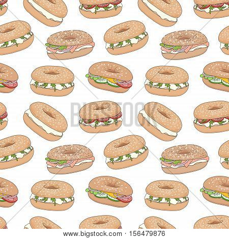 Hand drawn various fresh bagel sandwiches vector seamless pattern. Bagels with cream cheese, lax, vegetables. For web design, wrapping, menu or interior design. Eps10, added to swatches.