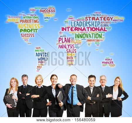 International corporate team and world map with business word concepts