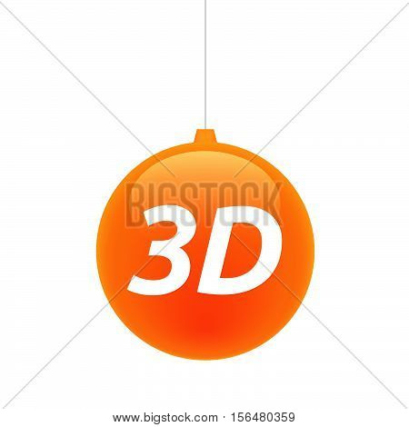 Isolated Christmas Ball With    The Text 3D