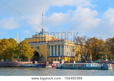 SAINT PETERSBURG RUSSIA-OCTOBER 3 2016. Admiralty arch on the embankment of Neva river in Saint PetersburgRussia. Architecture landmark of Saint Petersburg in autumn sunny day