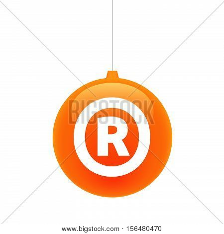 Isolated Christmas Ball With    The Registered Trademark Symbol