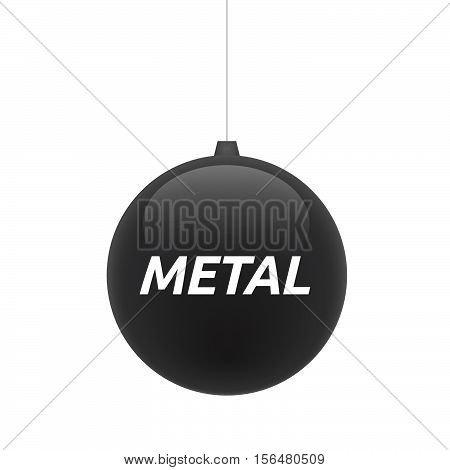 Isolated Christmas Ball With    The Text Metal
