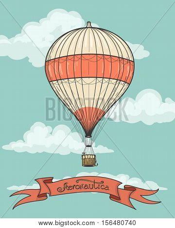 Retro hot air balloon airship artistic background with vintage aeronautics ribbon. Vector illustration