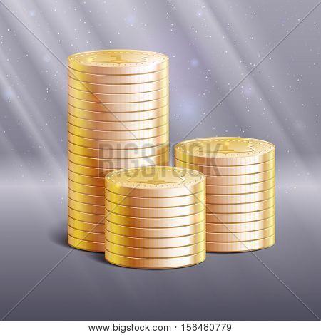 Stacks of gold coins, vector illustration. Details and realistic 3d stacks of coins with ray of lights, sparkles, reflections and shadows