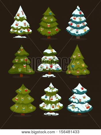 Christmas tree Set of christmas green trees with decoration ball. Winter christmas tree holiday design elements: xmas fir with snow and decoration. Christmas tree Cartoon style. Isolated vector.