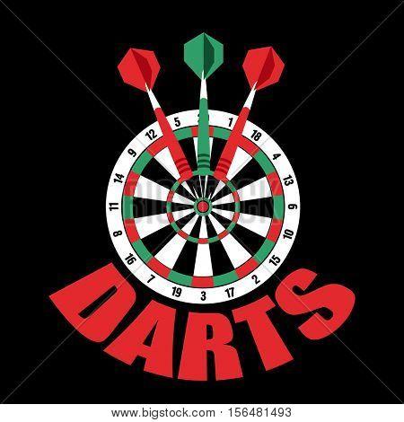 Darts label. Badge Logo sporting symbols. Darts, dartboard, ribbon for sport, sporting logo and leisure design. Vector Illustration.