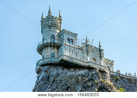 The ancient castle Swallow's Nest on a background of blue sky