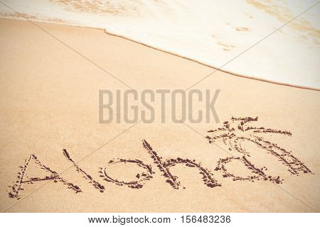 Aloha text written on sand with palm tree at beach