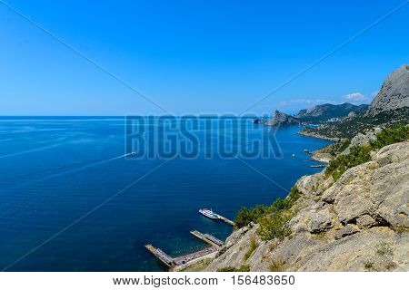 The mountainous sea shore view from above