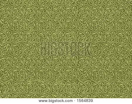 Vintage Wallpaper In Green