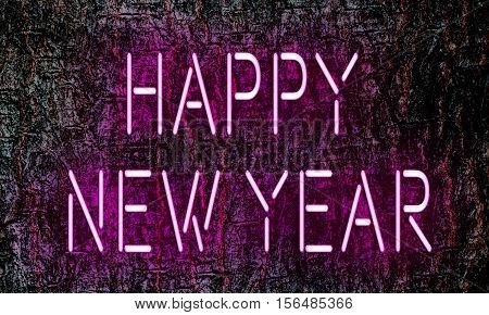 Pink glowing neon light with New Year concept on plant texture background