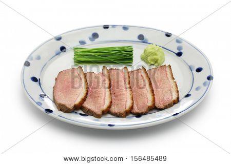 kamo rosu, seared duck breast steamed, japanese cuisine