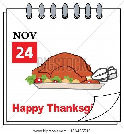 Cartoon Calendar Page With Roasted Turkey. Illustration Isolated On White Background