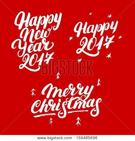 Set of Happy New Year 2017 and Merry Christmas hand written lettering. Modern brush calligraphy. Christmas greeting card on red background. Vector illustration.
