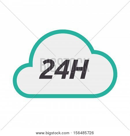 Isolated Cloud Icon With    The Text 24H