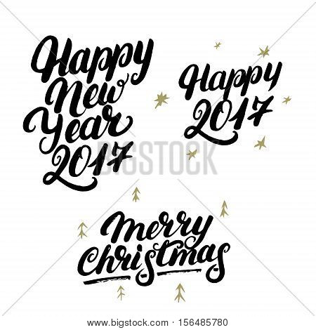 Set of Happy New Year 2017 and Merry Christmas hand written lettering. Modern brush calligraphy. Christmas greeting card on white background. Golden design elements. Vector illustration.