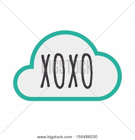 Isolated Cloud Icon With    The Text Xoxo