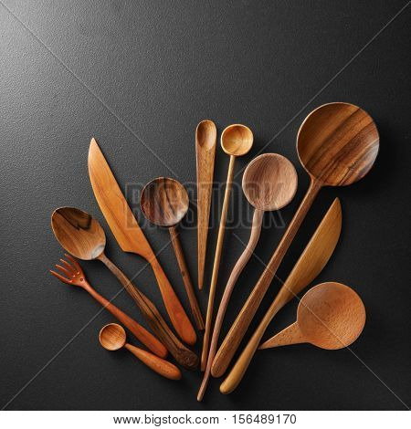 Wooden spoons and knife