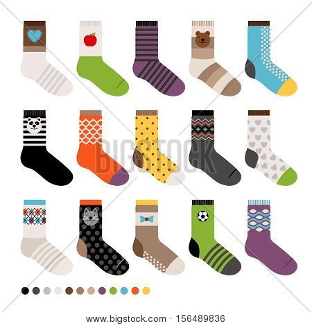 Childrens socks. Vector long sock icon set on white background