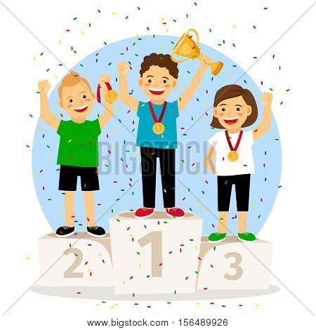 Children young winner podium. Sport athletics kids on pedestal with trophy cup. Vector illustration