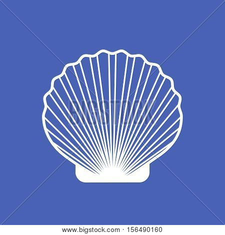 Marine shell or seashell scallop vector isolated on blue