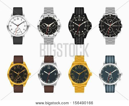 Vector watch set. Expensive classic clock with leather and metal straps illustration