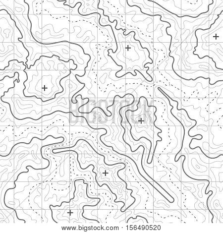 Topographic vector background with mountain texture and grid. Topography map for travel, relief map diagram illustration