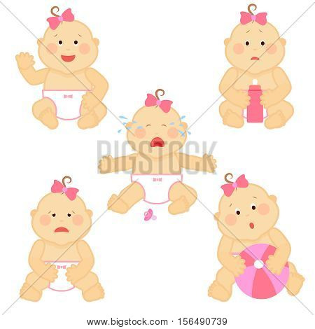 Small baby emotions vector illustration. Baby cry and happy girl baby