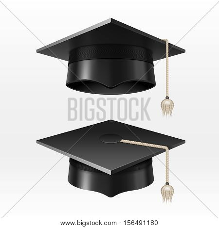 University academic graduation caps with tassel vector illustration.