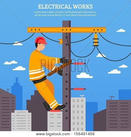 Electrical works flat vector illustration of electrician working with high voltage equipment on power line support