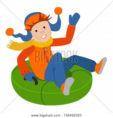 Cute child on snow tubing. Vector illustration.